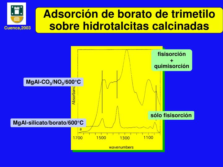 Adsorción de borato de trimetilo sobre hidrotalcitas calcinadas
