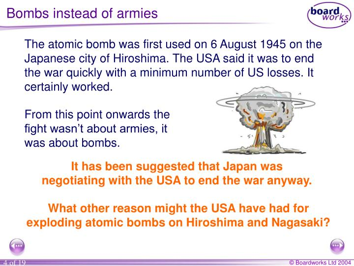 Bombs instead of armies