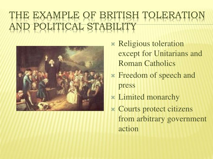 The Example of British Toleration and Political Stability