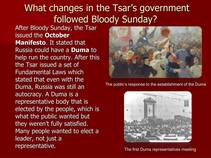 What changes in the Tsar's government followed Bloody Sunday?