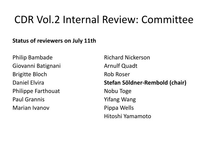 CDR Vol.2 Internal Review: