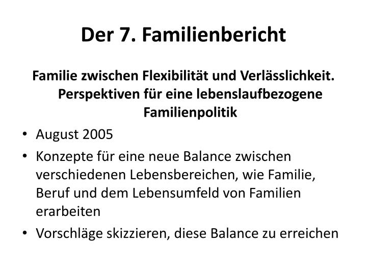 Der 7. Familienbericht