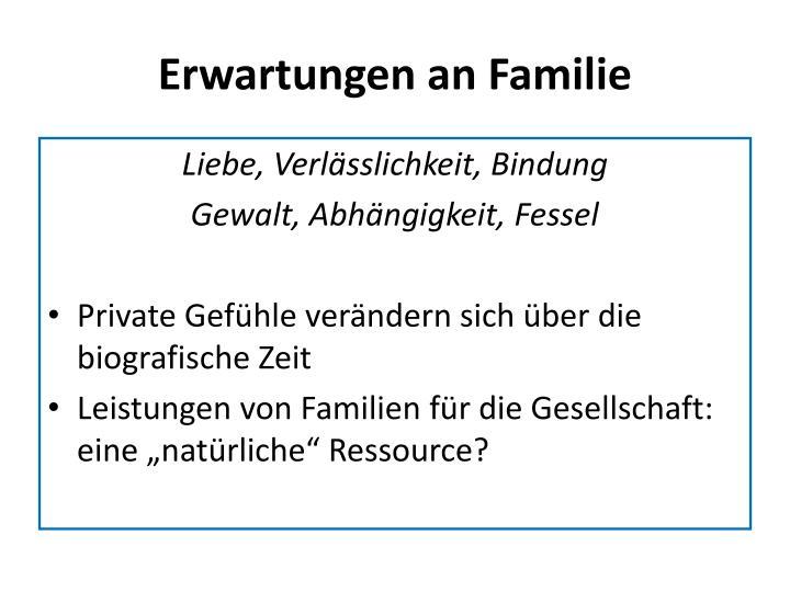 Erwartungen an Familie