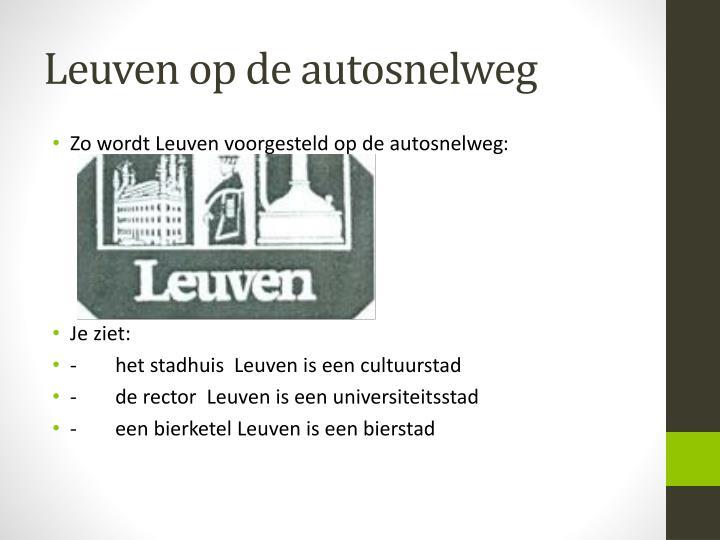 Leuven op de autosnelweg