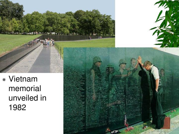 Vietnam memorial unveiled in 1982