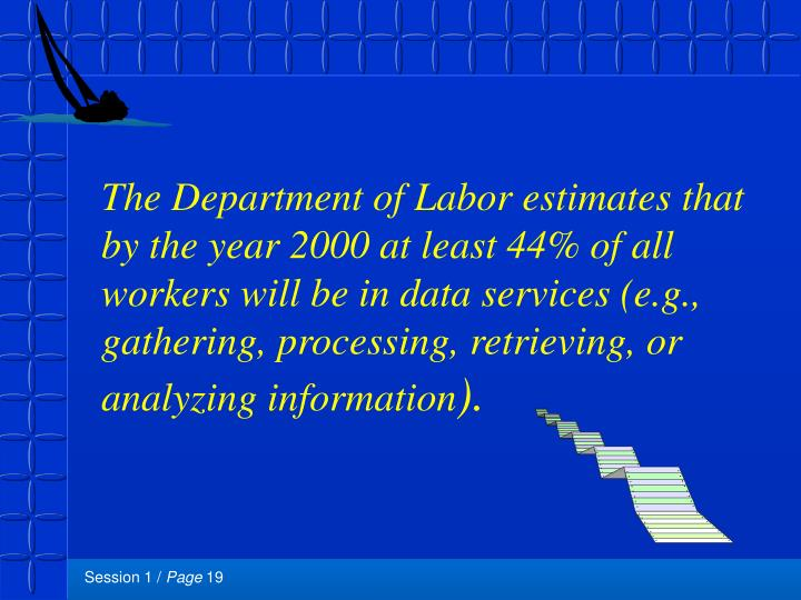 The Department of Labor estimates that by the year 2000 at least 44% of all workers will be in data services (e.g., gathering, processing, retrieving, or analyzing information