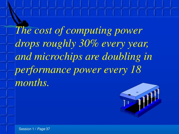 The cost of computing power drops roughly 30% every year, and microchips are doubling in performance power every 18 months.