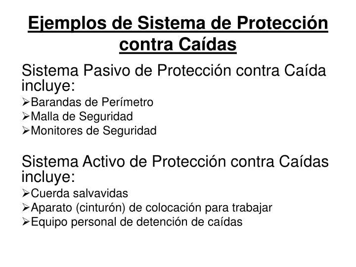 Ejemplos de Sistema de Protección contra Caídas