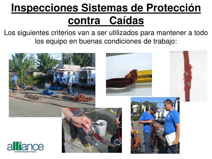 Inspecciones Sistemas de Protección contra   Caídas
