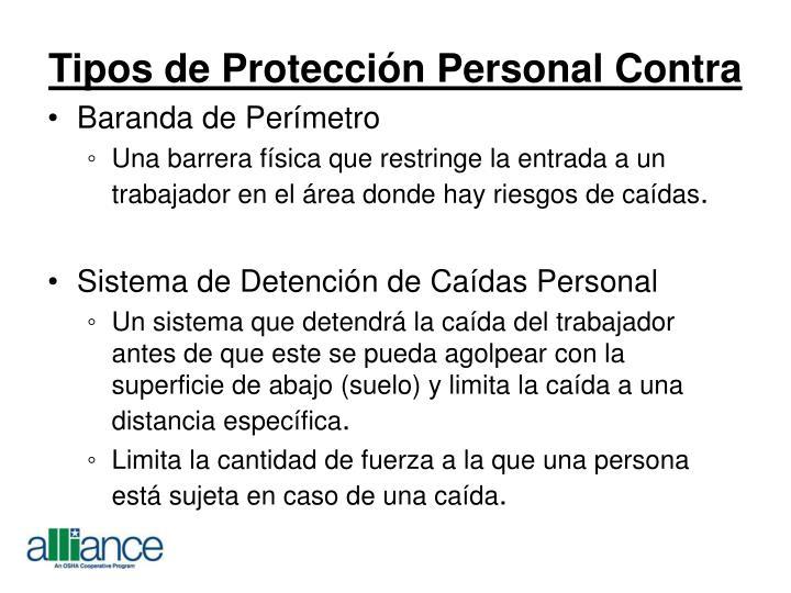 Tipos de Protección Personal Contra