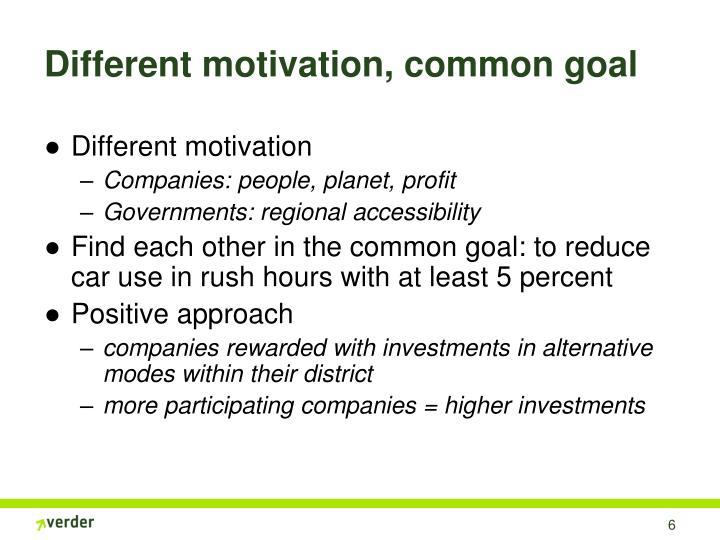 Different motivation, common goal