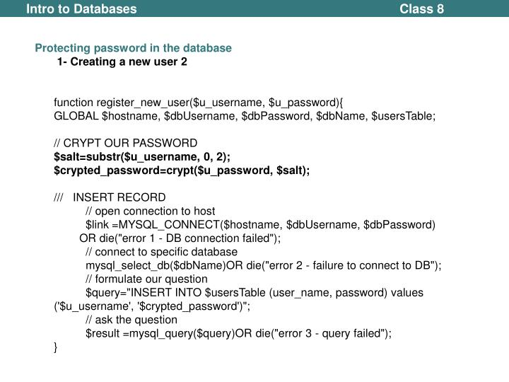 Protecting password in the database