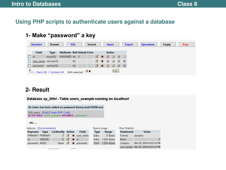 Using PHP scripts to authenticate users against a database