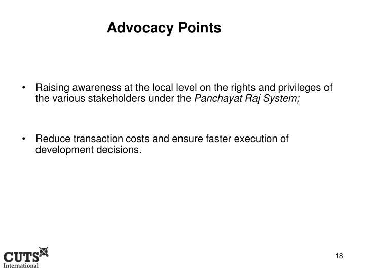 Advocacy Points