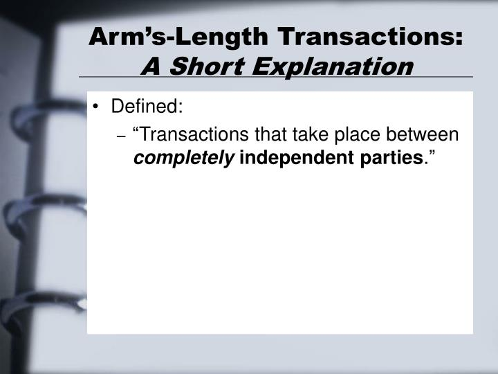 Arm's-Length Transactions: