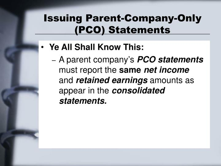 Issuing Parent-Company-Only