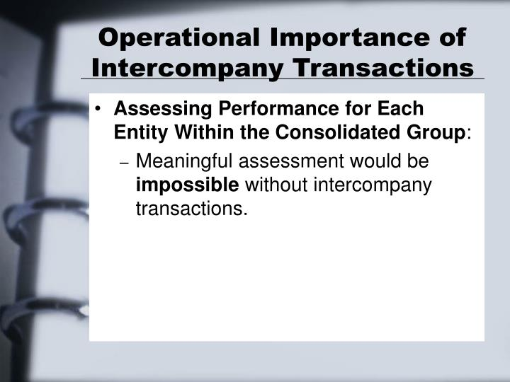 Operational Importance of Intercompany Transactions