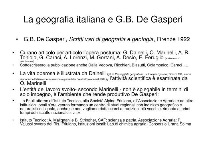 La geografia italiana e G.B. De Gasperi