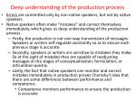 deep understanding of the production process