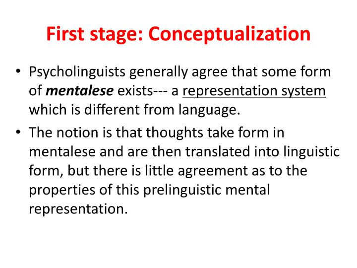 First stage: Conceptualization