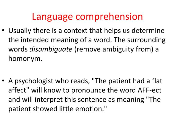 Language comprehension