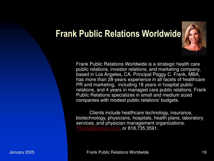 Frank Public Relations Worldwide