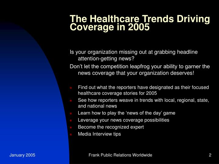 The Healthcare Trends Driving Coverage in 2005