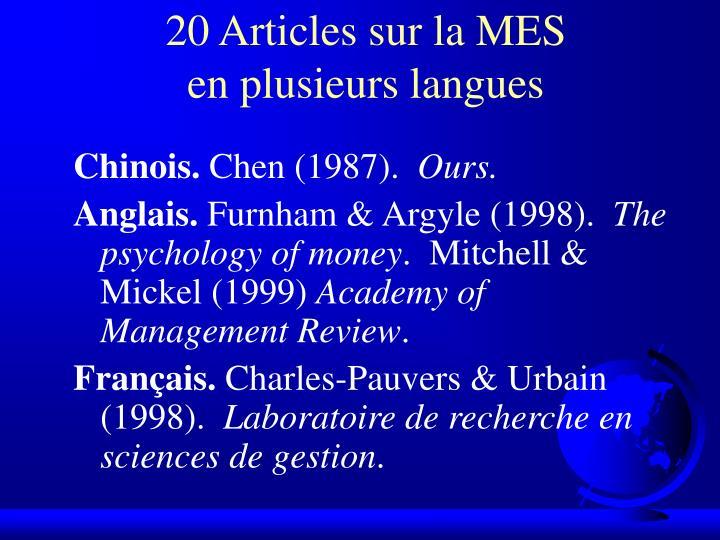 20 Articles sur la MES