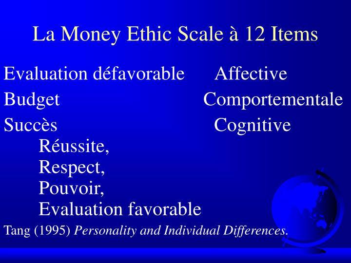 La Money Ethic Scale à 12 Items
