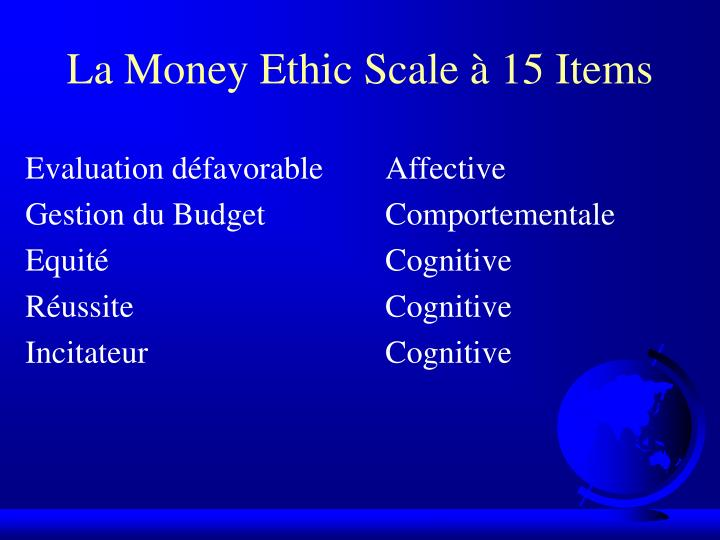 La Money Ethic Scale à 15 Items