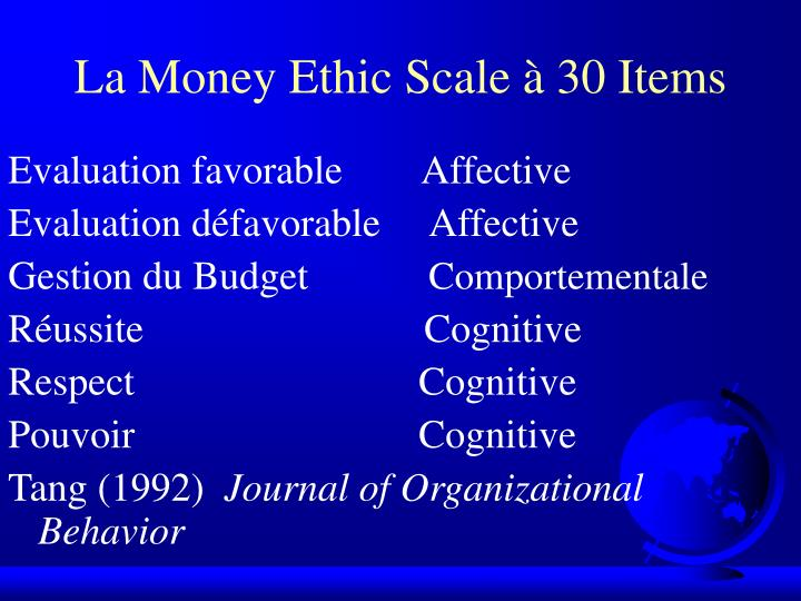 La Money Ethic Scale à 30 Items