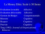 la money ethic scale 30 items