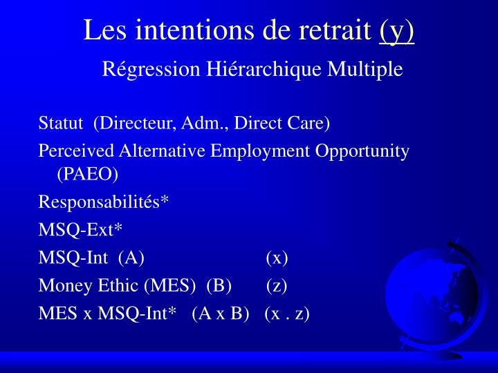 Les intentions de retrait