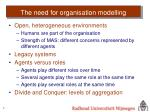 the need for organisation modelling