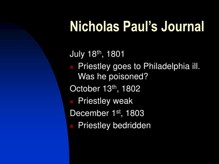 Nicholas Paul's Journal