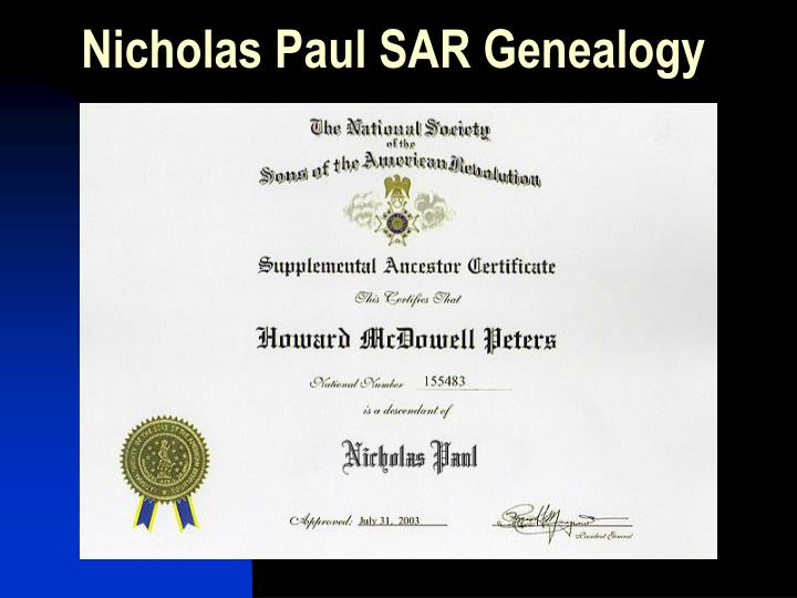 Nicholas Paul SAR Genealogy