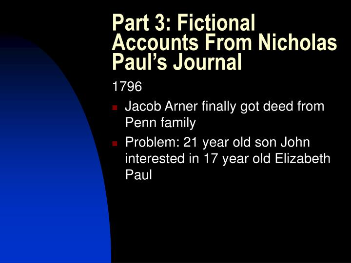 Part 3: Fictional Accounts From Nicholas Paul's Journal