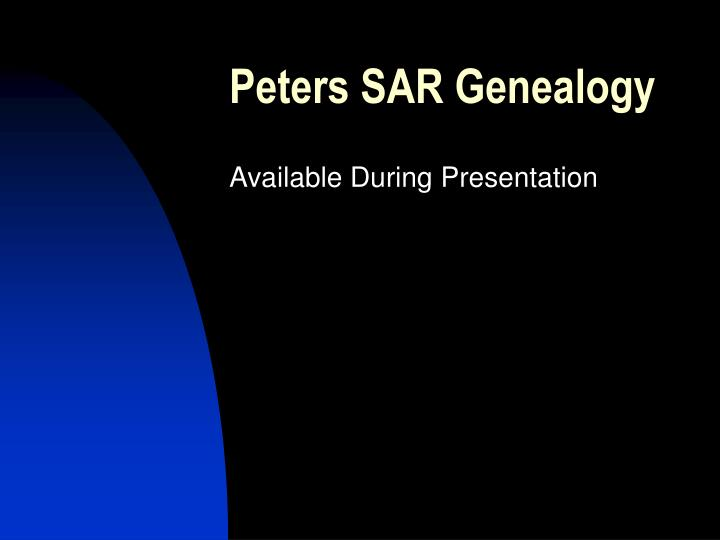 Peters SAR Genealogy