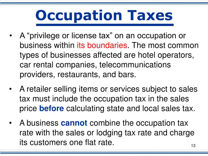 Occupation Taxes