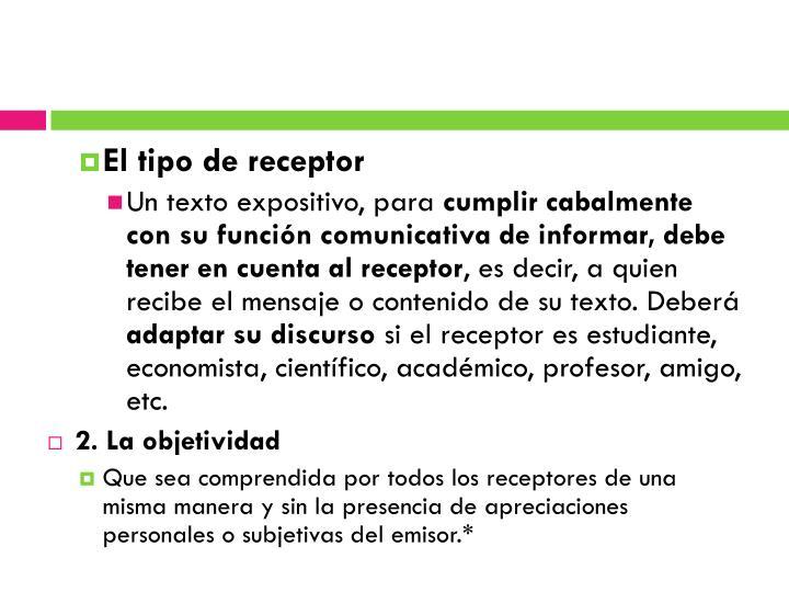 El tipo de receptor