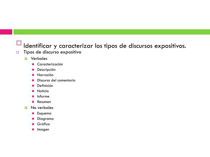 Identificar y caracterizar los tipos de discursos expositivos.