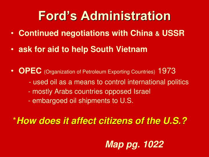 Ford's Administration