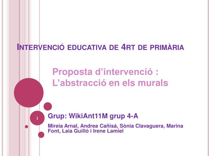 Intervenci educativa de 4rt de prim ria