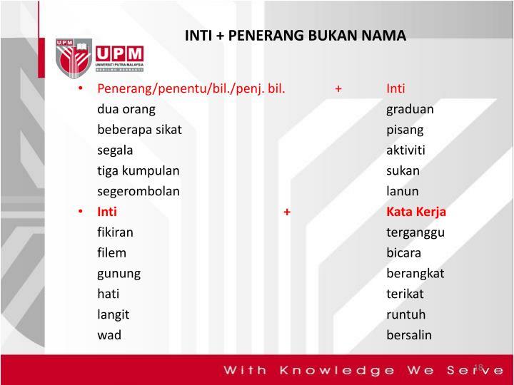 INTI + PENERANG BUKAN NAMA