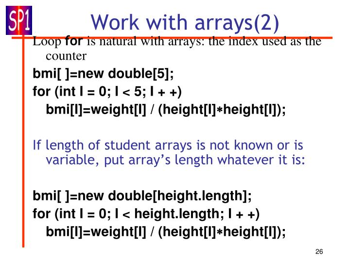 Work with arrays(2)