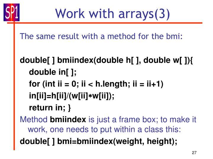 Work with arrays(3)