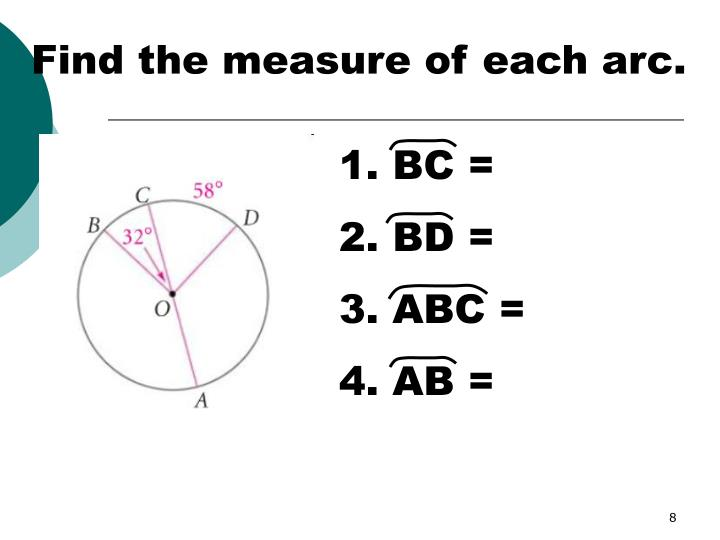 how to find the measure of an arc