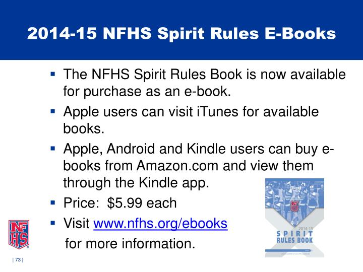2014-15 NFHS Spirit Rules E-Books