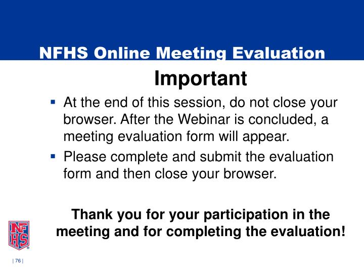 NFHS Online Meeting Evaluation