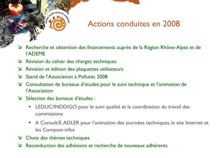 Actions conduites en 2008